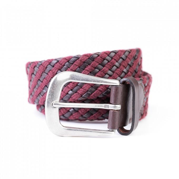 ADRIANO MENEGHETTI Bordeaux Braided Wool and Leather Belt
