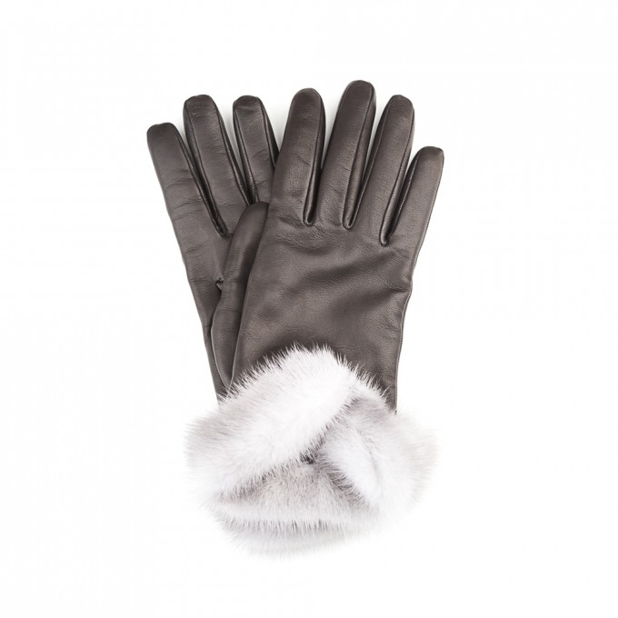 Charlotte Black leather with fur and cashmire MAZZOLENI GLOVES 1958
