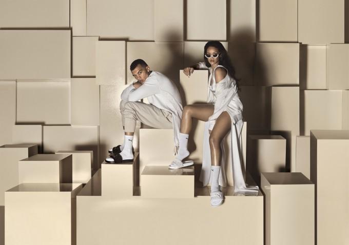 Rihanna Fur Slides by FENTY_Black-White